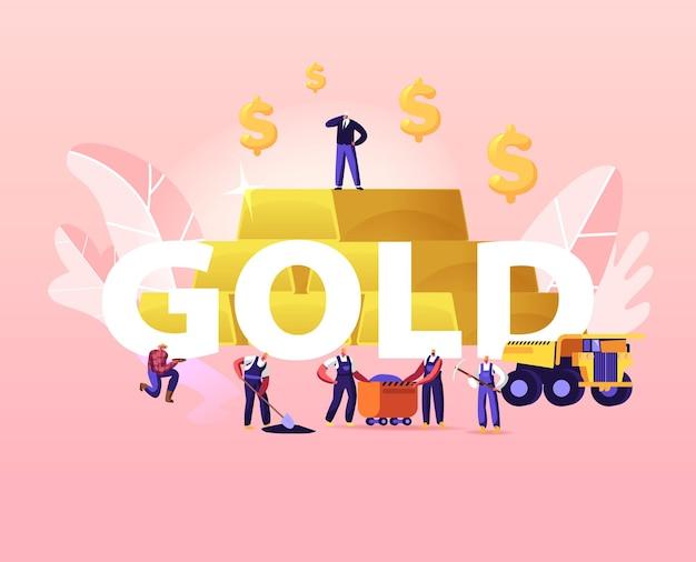Ilustracja górnictwa złota. drobne postacie górników pracujące w kamieniołomie z narzędziami, transportem i techniką
