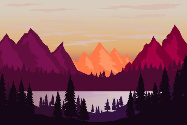 Ilustracja górskiego krajobrazu w stylu. element plakatu, ulotki, prezentacji, broszury. wizerunek