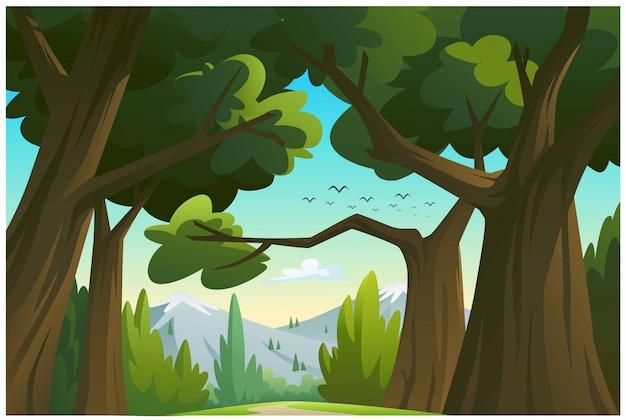 Ilustracja góry i drzewa.