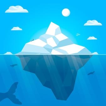 Ilustracja góry lodowej poly