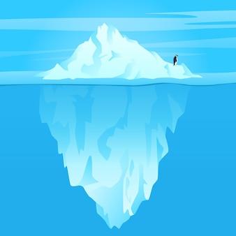 Ilustracja góry lodowej w oceanie