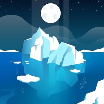Ilustracja góry lodowej z księżycem