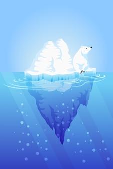 Ilustracja góry lodowej z niedźwiedziem polarnym
