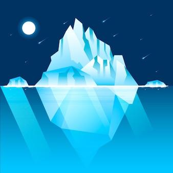 Ilustracja góry lodowej z nocnym niebem i spadającymi gwiazdami