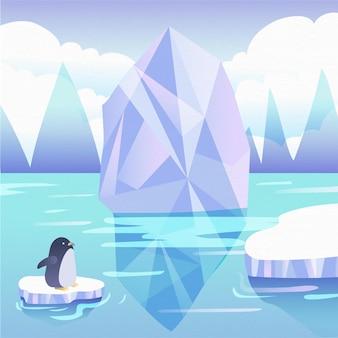 Ilustracja góry lodowej z pingwinem