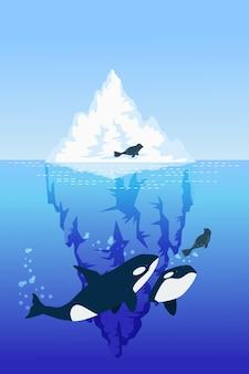 Ilustracja góry lodowej z wielorybami i foką