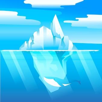 Ilustracja góry lodowej z wielorybem