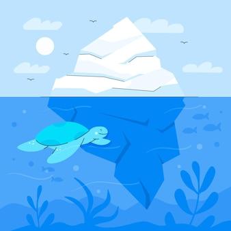 Ilustracja góry lodowej z żółwiem