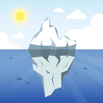 Ilustracja góry lodowej ze słońcem i chmurami
