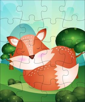 Ilustracja gra logiczna dla dzieci z uroczym lisem