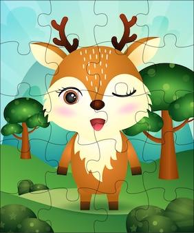 Ilustracja gra logiczna dla dzieci z uroczymi jeleniami
