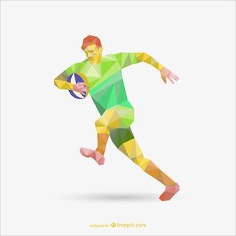 Ilustracja gracz rugby wielokąta