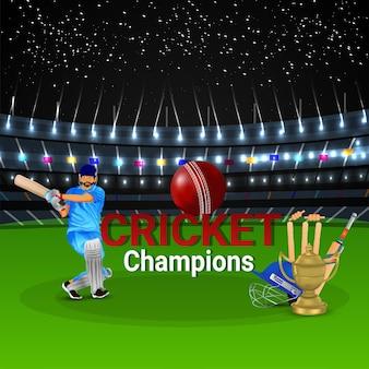 Ilustracja gracza krykieta ze złotym trofeum i stadionem