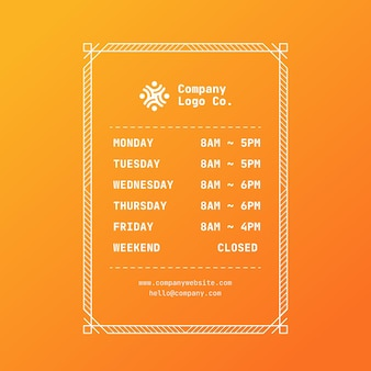 Ilustracja gradientowe godziny otwarcia firmy