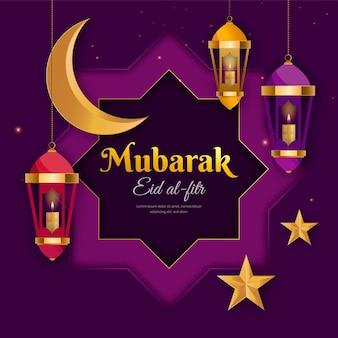 Ilustracja gradientu eid al-fitr eid mubarak