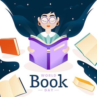 Ilustracja gradientu światowego dnia książki