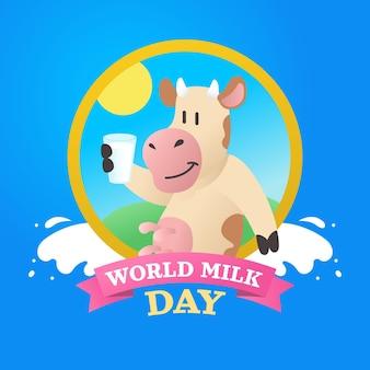 Ilustracja gradientu światowego dnia mleka