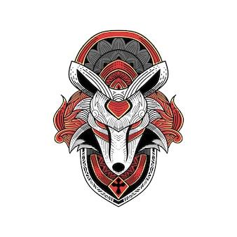 Ilustracja graficzna i ozdoba do grawerowania wilka w koszulce