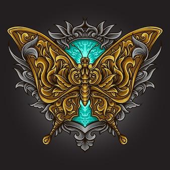 Ilustracja graficzna i projekt koszulki motyl grawerowany ornament