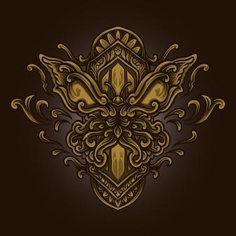 Ilustracja graficzna i projekt koszulki złoty ornament grawerujący motyl