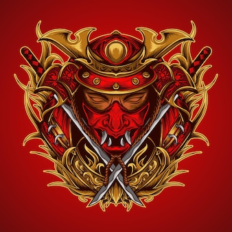 Ilustracja graficzna i t-shirt samuraj i ornament do grawerowania katany