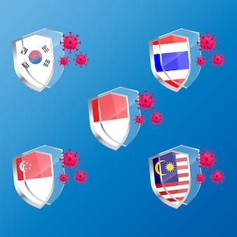 Ilustracja graficzna tarczy antybakteryjnej lub antywirusowej z flagami