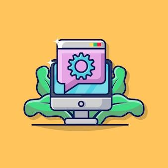 Ilustracja graficzna wsparcia online dla biznesu z monitorem komputera i ikona wyskakującego ekranu.