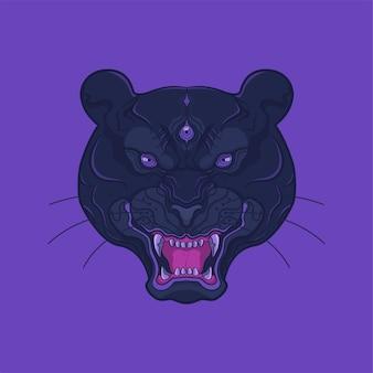 Ilustracja grafika głowy czarnej pantery