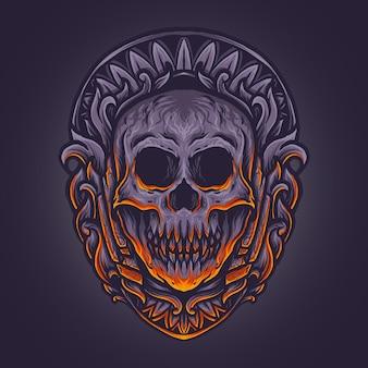 Ilustracja grafika i czaszka projekt koszulki z ornamentem grawerującym