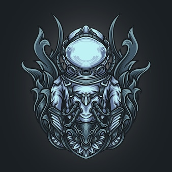 Ilustracja grafika i projekt koszulki astronauta grawerunek ornament