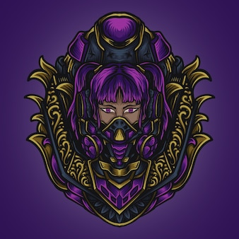 Ilustracja grafika i projekt koszulki cyber punk dziewczyny grawerujące ornament