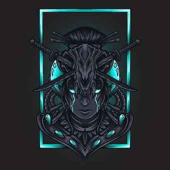 Ilustracja grafika i projekt koszulki cyborg kobiety czaszka grawerowanie ornament