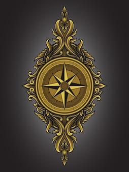 Ilustracja grafika i projekt koszulki kompas grawerowanie ornament