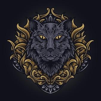 Ilustracja grafika i projekt koszulki kot grawerowany ornament