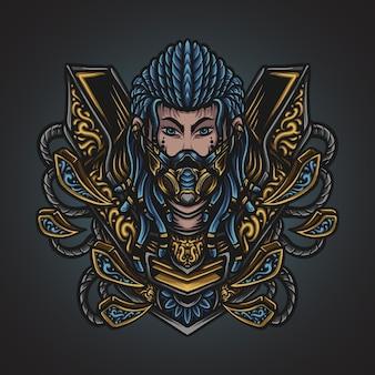 Ilustracja grafika i projekt koszulki mężczyzna z ornamentem grawerującym maskę gazową