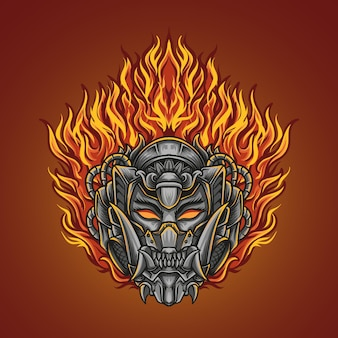 Ilustracja grafika i projekt koszulki ogień oni