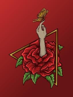 Ilustracja grafika i projekt koszulki róża ręka motyl