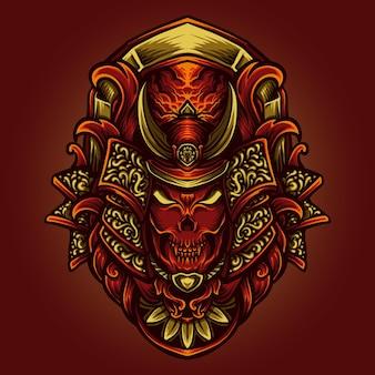 Ilustracja grafika i projekt koszulki samuraj diabeł grawerujący ornament