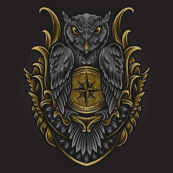 Ilustracja grafika i projekt koszulki sowa z ornamentem grawerującym kompas