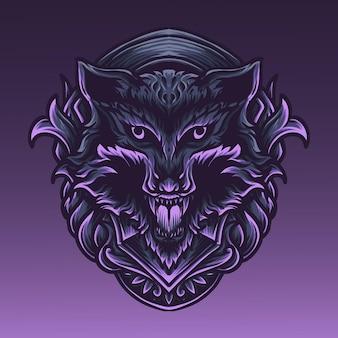 Ilustracja grafika i projekt koszulki wilk głowa grawerowanie ornament