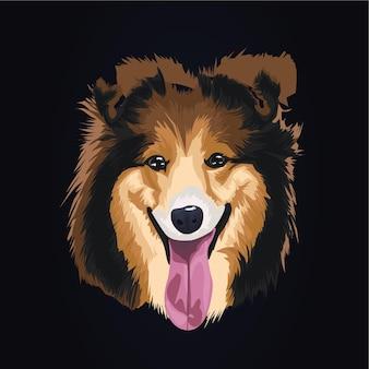 Ilustracja grafika ładny pies