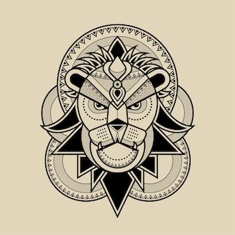 Ilustracja grafika linii głowy lwa