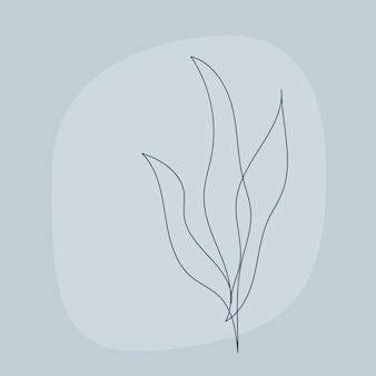 Ilustracja grafika linii roślin. współczesny wzór roślinny lineart do projektowania nowoczesnej karty, zaproszenia, plakatu, nadruku na koszulkę itp.