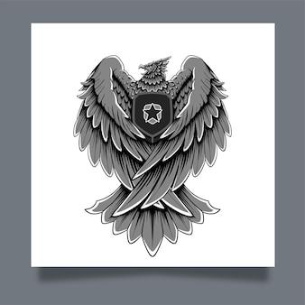 Ilustracja grafika orzeł garuda