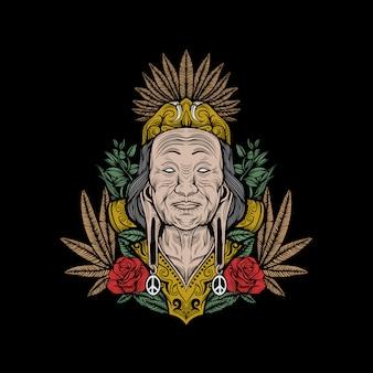 Ilustracja grafika plemiennej kultury dayak