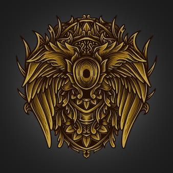 Ilustracja grafika złoty anioł skrzydło grawerowanie ornament
