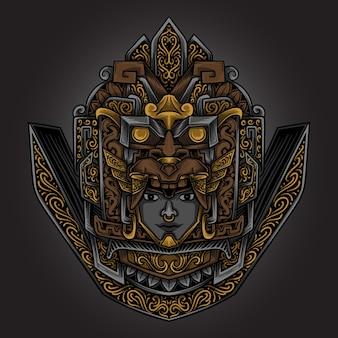 Ilustracja grafika złoty ornament grawerujący majów azteków
