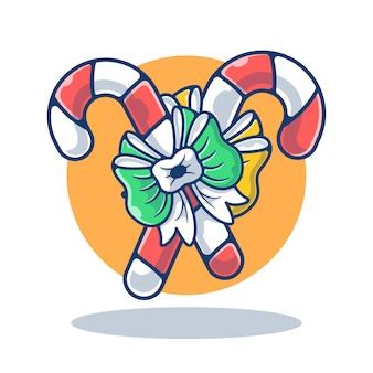 Ilustracja grafiki christmas candy cane z kokardą