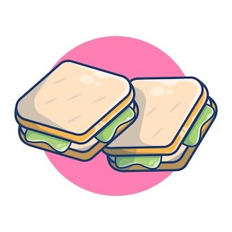 Ilustracja grafiki kanapki jedzenie na śniadanie. chleb z koncepcją śniadanie warzywne. płaski styl kreskówki