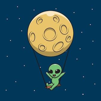 Ilustracja grafiki kreskówki szczęśliwego cudzoziemca huśtawka na księżycu.